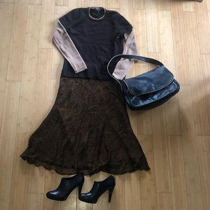 Lauren by Ralph Lauren silk paisley neutral skirt